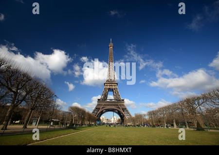 Eiffel Tower from Champ de Mar, Paris, France - Stock Photo