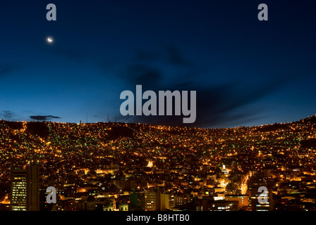 Panorama of night La Paz Bolivia - Stock Photo