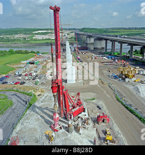 Piling foundations for Medway Viaduct. It is Europe's longest high-speed railway bridge and carries the Channel - Stock Photo