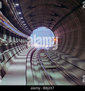 Driver's eye view of the French portal at Sangatte as the train leaves the Channel Tunnel after its journey from - Stock Photo