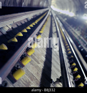 Newly laid trackwork on the Jubilee Line Extension, a part of London Underground's Tube network. - Stock Photo