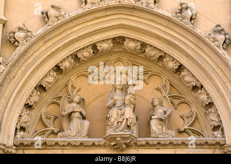Detail from above the doorway of La Seu, the cathedral in Palma, Mallorca. - Stock Photo