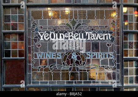A very old pub window in The Strand in London - Stock Photo