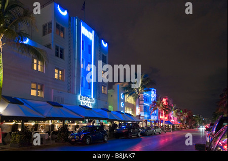 Hotels on Ocean Drive in the Art Deco district at night, South Beach, Miami Beach, Gold Coast, Florida, USA - Stock Photo