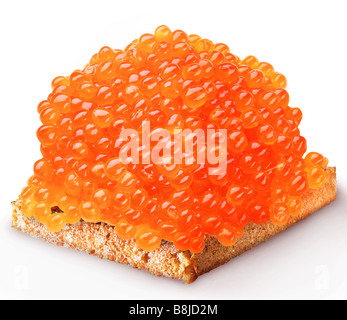 Red caviar on the piece of bread - Stock Photo
