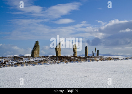 dh  RING OF BRODGAR ORKNEY Stone circle neolithic henge snow bronze age britain winter historic uk - Stock Photo