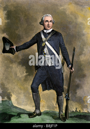 Joseph Warren American patriot leader at the Battle of Bunker Hill. Hand-colored steel engraving - Stock Photo