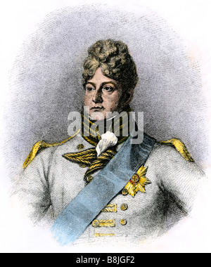 King George IV when Prince of Wales. Hand-colored woodcut - Stock Photo