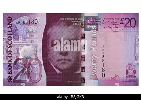 dh Bank of Scotland MONEY SCOTLAND UK Twenty pound banknote Sir Walter Scott front scottish 20 pounds note cut out - Stock Photo