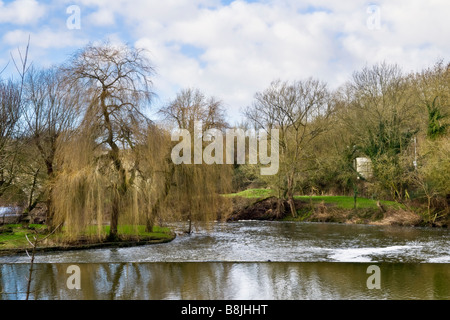 The weir in winter on the river Avon taken at Avoncliff which is between the Limpley Stoke valley and Bradford on - Stock Photo