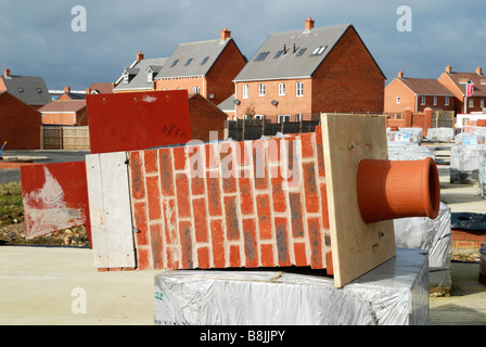 A chimney on a Redrow Homes building site at The Grange Desborough Northants., UK. - Stock Photo