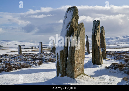 dh  RING OF BRODGAR ORKNEY Stone circle neolithic henge snow world unesco heritage sites uk winter - Stock Photo