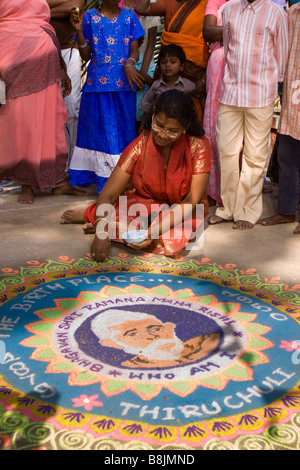 India Tamil Nadu Madurai Thiruchuli Village Pongal celebration Rangoli competitor - Stock Photo