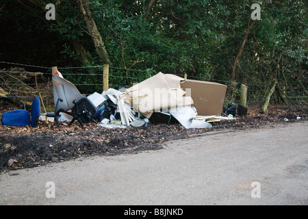 Fly tipping in the New Forest, Hampshire, UK. - Stock Photo