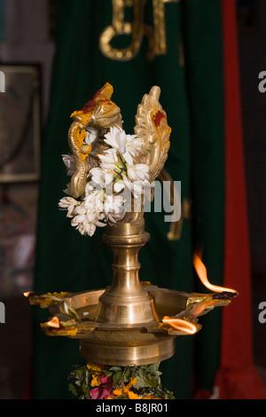 India Tamil Nadu Madurai Thiruchuli Village Pongal harvest festival temple lamp - Stock Photo