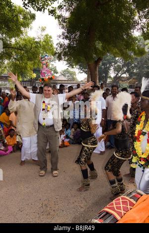 India Tamil Nadu Madurai Thiruchuli Village Pongal harvest festival western man dancing - Stock Photo