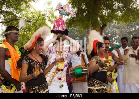 India Tamil Nadu Madurai Thiruchuli Village Pongal harvest festival western woman dancing - Stock Photo