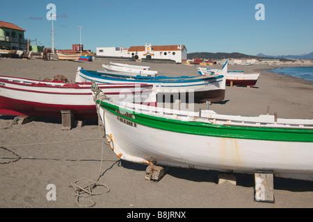 La Linea de la Concepcion Cadiz Province Spain Fishing boats on beach and Parroquial church of Nuestra Senora del - Stock Photo