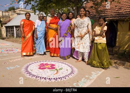 India Tamil Nadu Madurai Thiruchuli Village Pongal celebration Rangoli competitors - Stock Photo