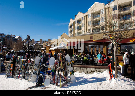 The Whistler Village on sunny winter day.  Whistler BC Canada - Stock Photo