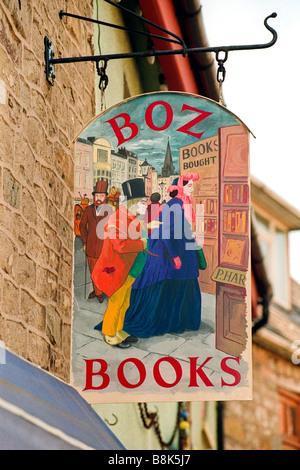Sign hanging outside BOZ BOOKS Hay Festival Hay on Wye Powys Wales UK - Stock Photo