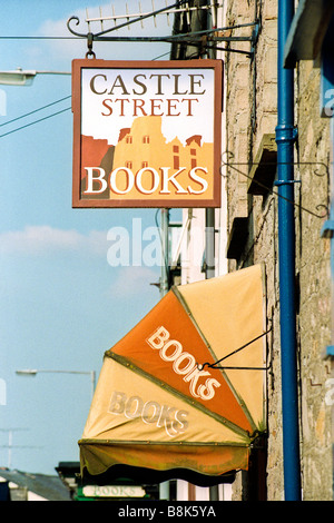 Exterior of Castle Street Books in Hay on Wye Powys Wales UK - Stock Photo