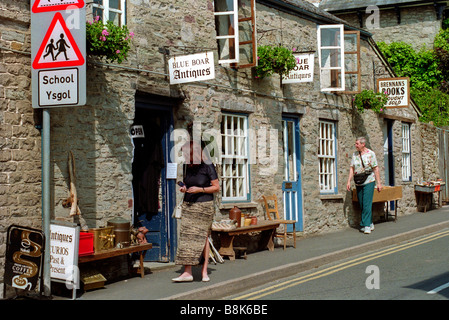 Exterior of Blue Boar antiques and book shops in town of Hay on Wye Powys Wales UK - Stock Photo