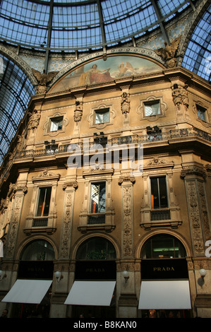 interior of Galleria Vittorio Emanuele II Milan Italy  September 2007 - Stock Photo