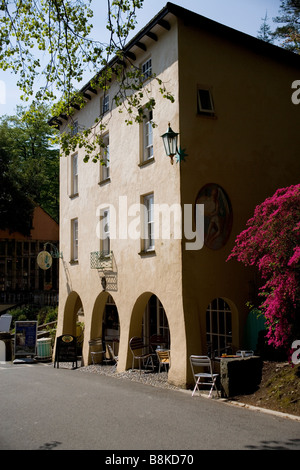 Cafe in the Italianate village of Portmeirion in Snowdonia, North Wales - Stock Photo