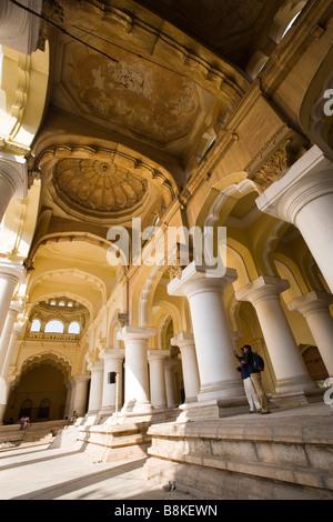 India Tamil Nadu Madurai Tirumalai Nayak Palace main hall wide angle view - Stock Photo