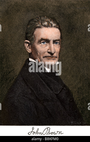 Abolitionist John Brown with his autograph. Hand-colored woodcut - Stock Photo