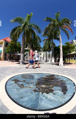 A stone world map in the city Philisburg on the Caribbean isle Saint Martin - Stock Photo