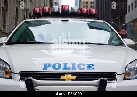 Front View Closeup of New York City Police Car (For Editorial Use Only) - Stock Photo
