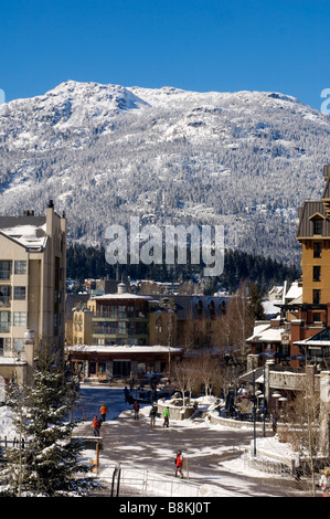 The Whistler Village on sunny winter day Whistler BC Canada - Stock Photo