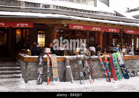 The Whistler Village after skiing Whistler BC Canada - Stock Photo