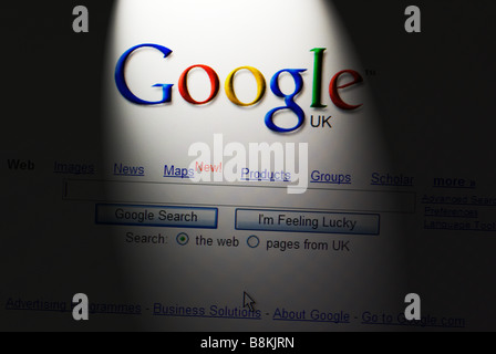 Google search engine screen shot on a computer screen - Stock Photo