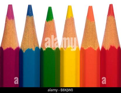 macro shot of coloured pencils isolated on white - Stock Photo