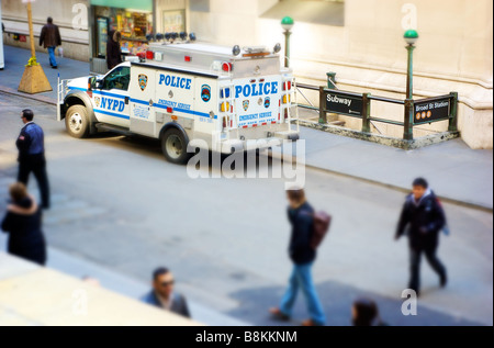High Angle View of NYC Emergency Vehicle Near Broad Street Subway Station  in Manhattan's Financial District (For - Stock Photo