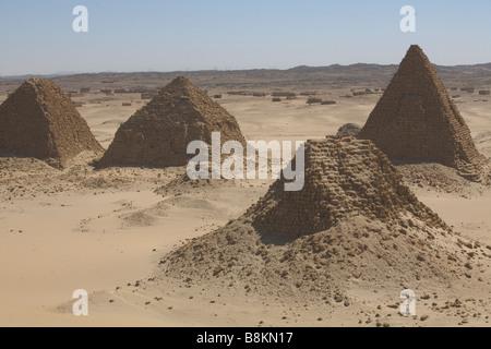 Pharaonic pyramids from old Napata kingdom in Nuri, Sudan - Stock Photo