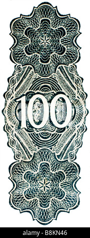 Number 100, from German 100 Mark banknote of 1922 - Stock Photo