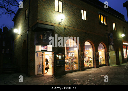 City of York, England. Evening view of the Jorvik Viking Centre gift shop and entrance in York's Coppergate. - Stock Photo