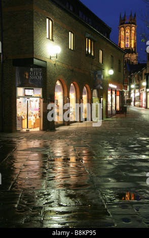 City of York, England. Evening view of the Coppergate shopping Centre with the Jorvik Viking Centre entrance in - Stock Photo
