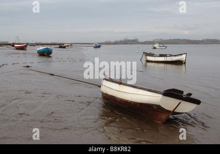 Boats at Sunderland Point, a small hamlet near Heysham, Lancashire, UK.  It dates back to the cotton trade of the - Stock Photo