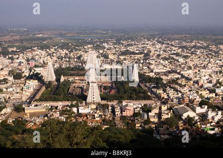 India Tamil Nadu Tiruvannamalai elevated view of Arunachaleswar temple - Stock Photo