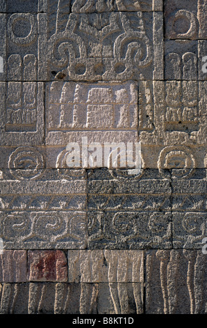 Low reliefs at pillar at Palace of Quetzalpapalotl in Teotihuacan Mexico - Stock Photo
