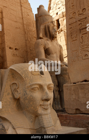 Luxor temple entrance, carved stone head of Ramses II with obelisk base and colossal statue of pharaoh in background, - Stock Photo