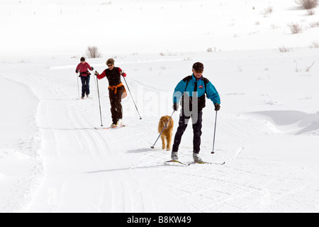 Male and female skate skiers at the Tennessee Pass Nordic Center near Leadville, Colorado, USA - Stock Photo