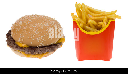 Hamburger and a box of french fries isolated on a white background - Stock Photo
