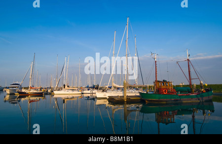 small harbor and ships on a beautiful night in Zeeland The Netherlands - Stock Photo