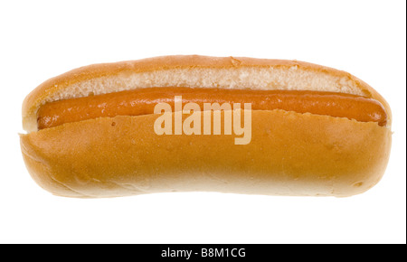hot dog in a bun isolated on a white background - Stock Photo